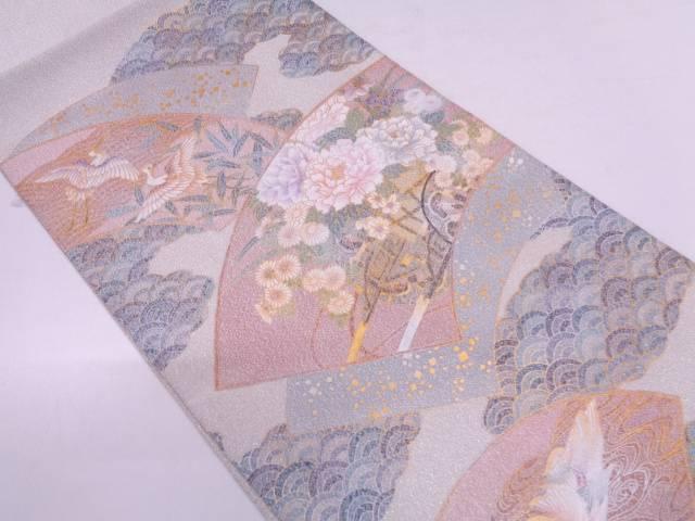 綴れ金彩地紙に花車・鶴模様袋帯【リサイクル】【中古】