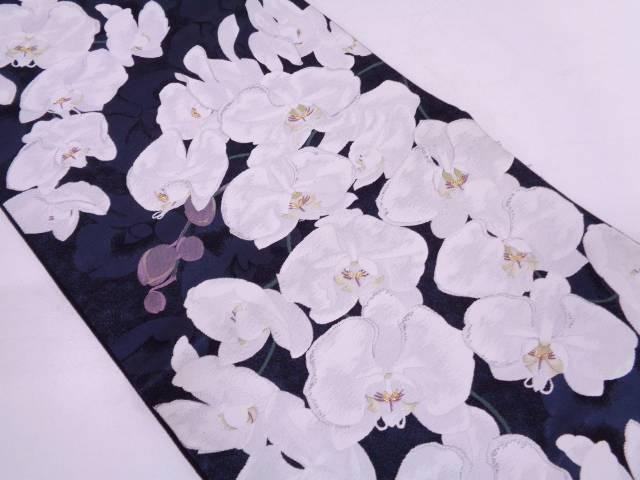 胡蝶蘭模様織出し袋帯【リサイクル】【中古】