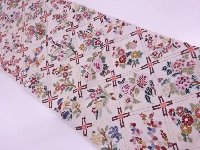 未使用品 AB 相良刺繍襷に草花模様袋帯(未仕立て)【リサイクル】【中古】