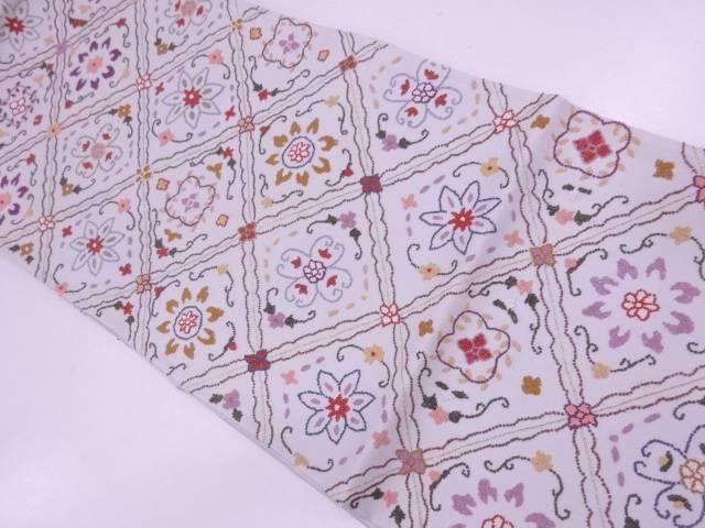 未使用品 AB 相良刺繍襷に花模様袋帯(未仕立て)【リサイクル】【中古】