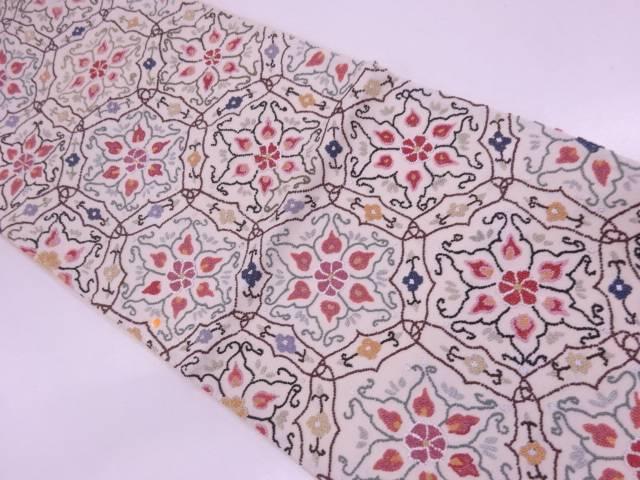 未使用品 AB 相良刺繍変わり亀甲に花模様袋帯(未仕立て)【リサイクル】【中古】