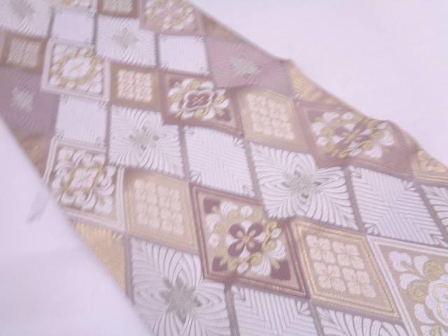 未使用品 唐織菱に花模様織出し袋帯【リサイクル】【中古】