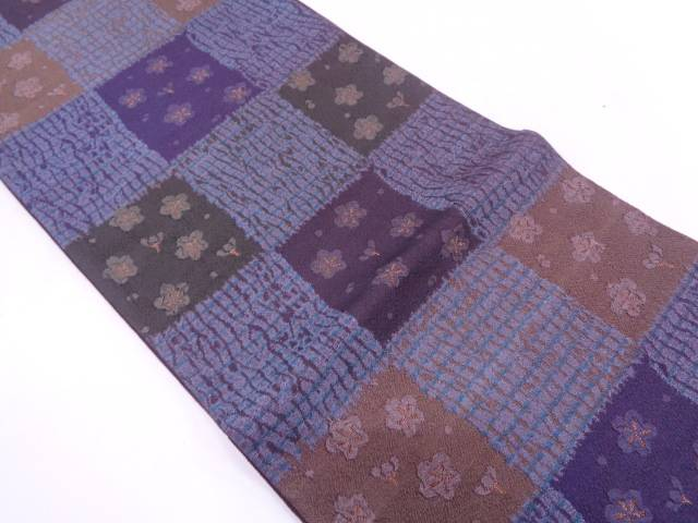 未使用品 纐纈市松に梅模様織出し袋帯【リサイクル】【中古】