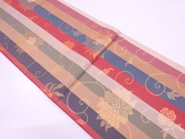 未使用品 縞に花唐草模様織出し全通袋帯【リサイクル】【中古】