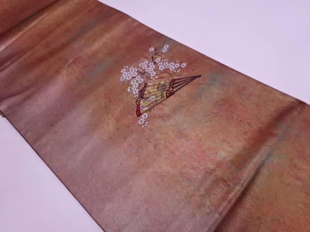 引箔扇に桜模様織出し袋帯 【リサイクル】【中古】