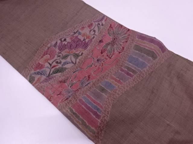 手織り真綿紬草花に抽象模様袋帯【リサイクル】【中古】