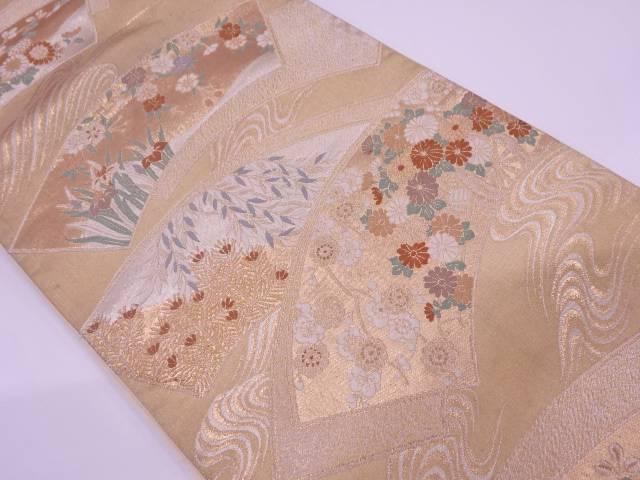 地紙に花車模様織出し袋帯【リサイクル】【中古】