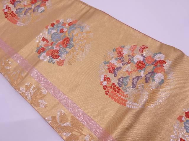 佐々木織物製 笠松に秋草模様織出し袋帯【リサイクル】【中古】