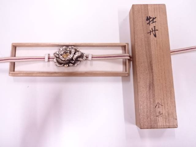 作家物 彫金牡丹帯留め(26.65グラム)【アンティーク】【中古】(リメイク・材料用)