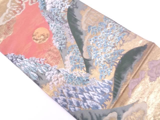 とみや織物製 日月風景模様織出し袋帯【リサイクル】【中古】