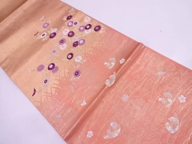 未使用品 帝王紫加賀小菊清遊文織出し袋帯【リサイクル】【中古】