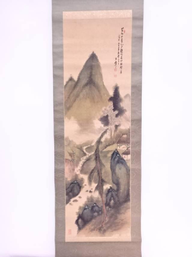 日本画 雨堂筆 青緑山水 肉筆絹本掛軸(共箱)