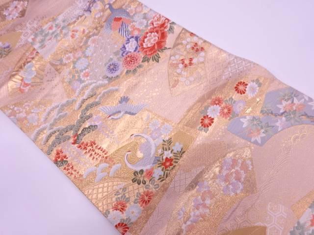 松鶴に孔雀・草花模様織出し袋帯【リサイクル】【中古】