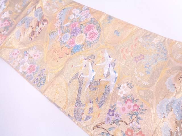 未使用品 群鶴に樹木風景・草花模様織出し袋帯【リサイクル】【中古】
