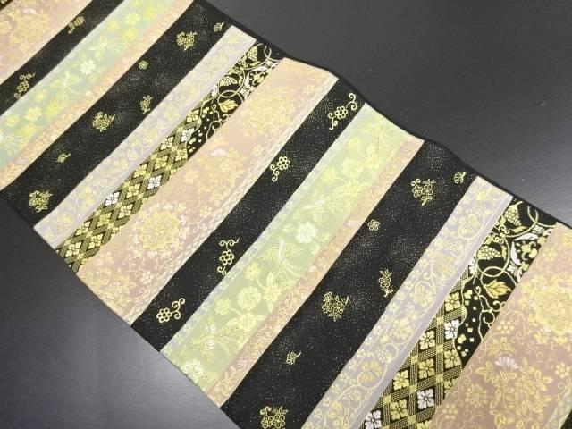 綴れ 金糸 横段に華紋・鳳凰模様織り出し袋帯【リサイクル】【中古】