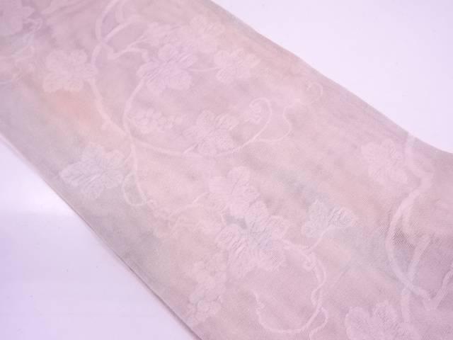 紗 葡萄唐草模様織出し袋帯【リサイクル】【中古】