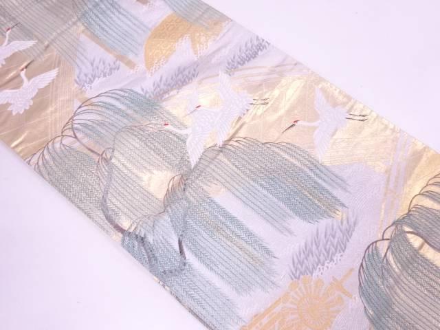 本金箔橋に群鶴・柳模様織出し袋帯【リサイクル】【中古】