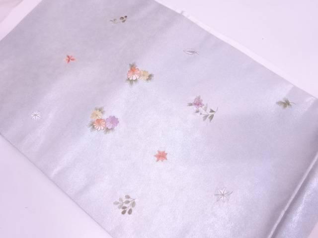 草花模様刺繍名古屋帯【リサイクル】【中古】