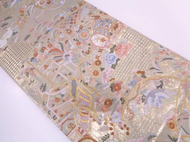 未使用品 汕頭蘇州刺繍誰が袖に花鳥・御所車模様袋帯【リサイクル】【中古】