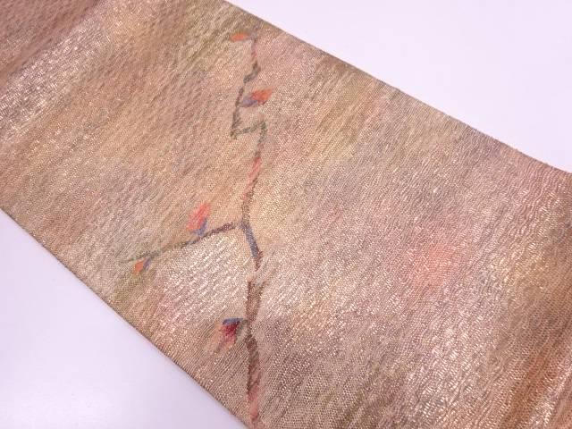 未使用品 すくい紙布織枝花模様織出し袋帯   【リサイクル】【中古】