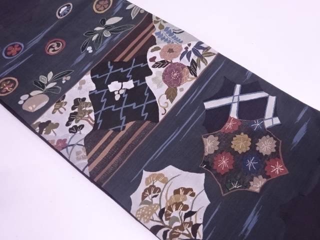 相良刺繍草花模様袋帯【リサイクル】【中古】