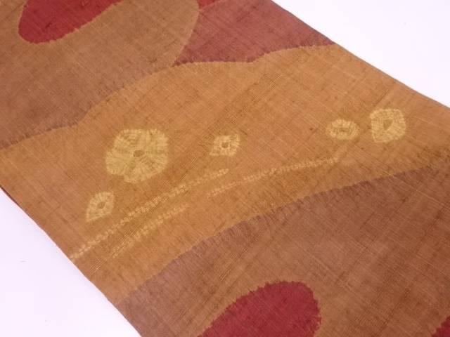 手織り真綿紬絞り流水模様名古屋帯【リサイクル】【中古】