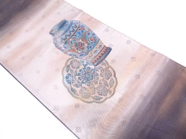 壺に絵皿模様袋帯【リサイクル】【中古】