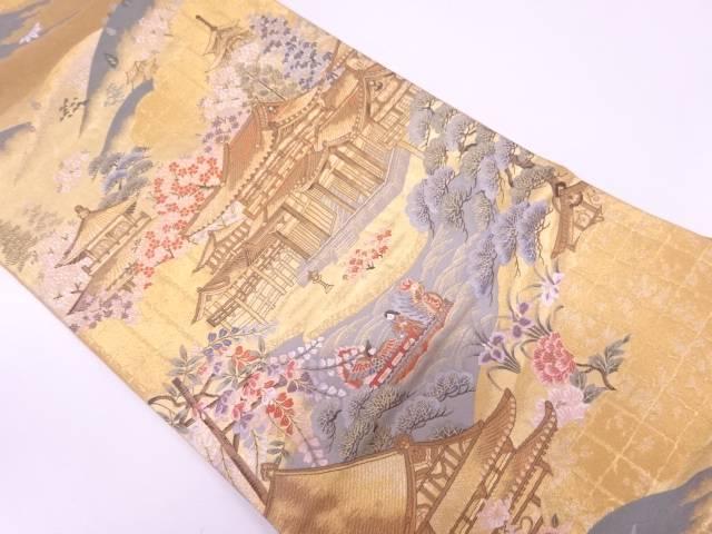 本金箔慶京洛平等院模様織出し袋帯【リサイクル】【中古】