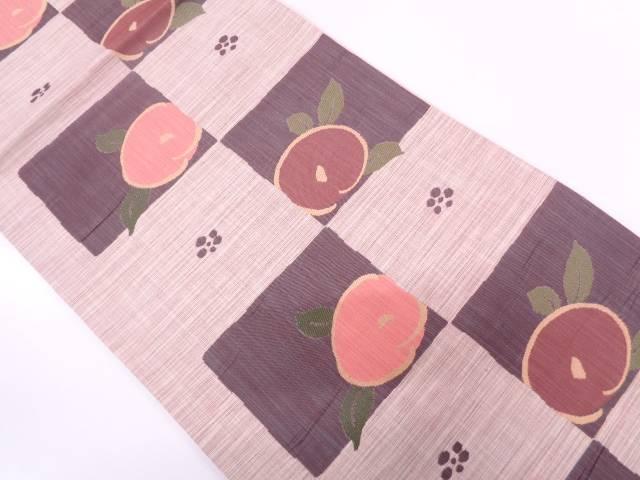 未使用品 三幸織物製 楽山市松に抽象椿模様織出し袋帯【リサイクル】【中古】