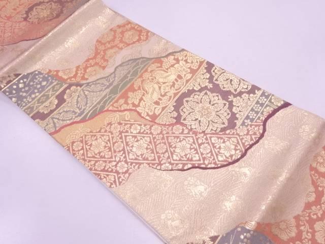 道長取りに向かい鳥・草花模様織出し袋帯【リサイクル】【中古】