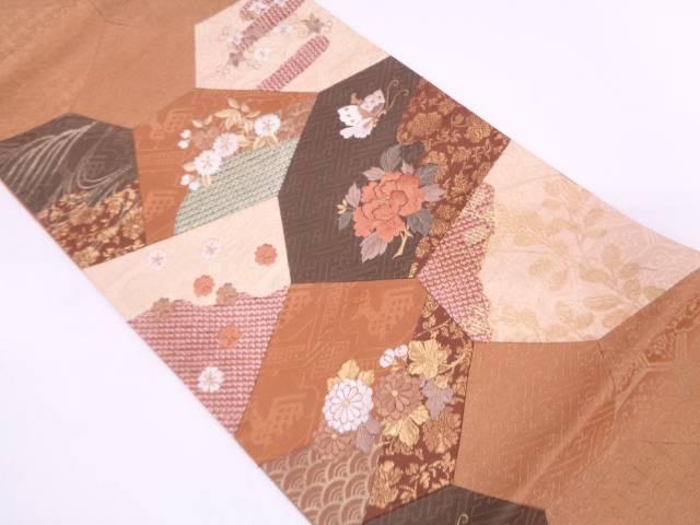 絞り切嵌花に蝶模様刺繍袋帯【リサイクル】【中古】