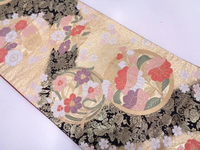 花丸文様に宝尽くし・桜模様織出し袋帯 【リサイクル】【中古】