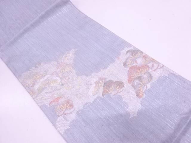 逆雲取に流水・松模様織出し袋帯【リサイクル】【中古】