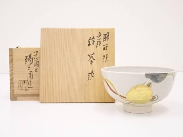 膳所焼 色絵鈴茶碗