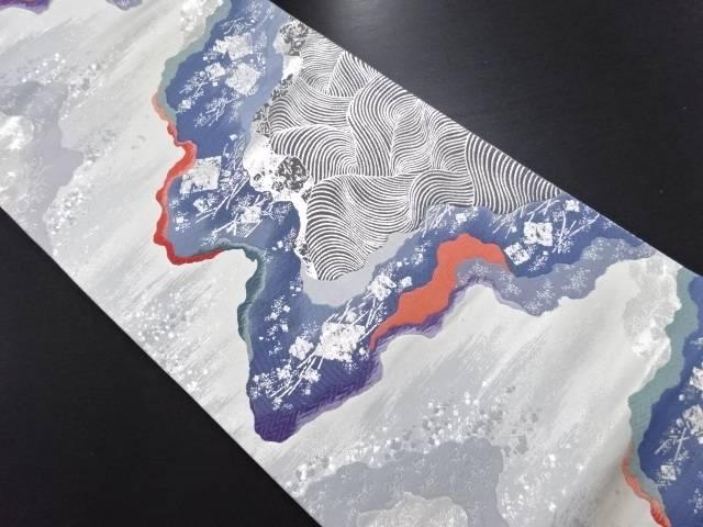 銀糸道長取に波・箔散らし模様織り出し袋帯【リサイクル】【中古】