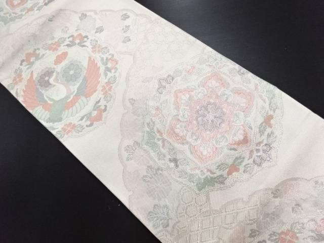 佐賀錦 華紋に鶴模様織り出し袋帯【リサイクル】【中古】