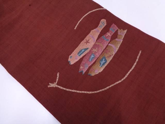 手織り紬魚模様刺繍名古屋帯【リサイクル】【中古】