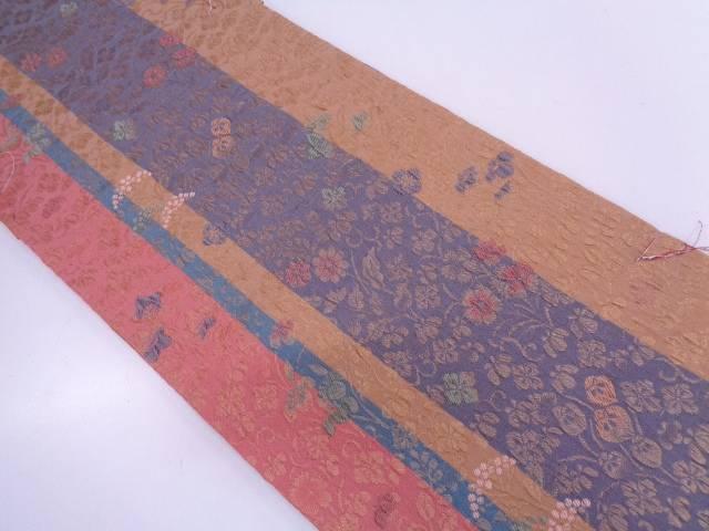 未使用品 纐纈縞に草花模様織出し袋帯【リサイクル】【中古】