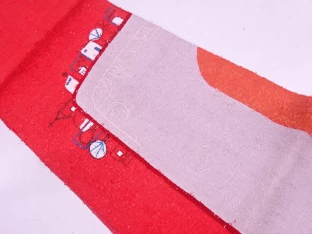 手織り真綿紬ひげ紬抽象家屋模様開き名古屋帯【リサイクル】【中古】