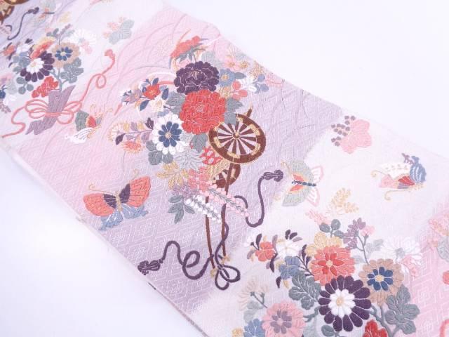唐織蝶に花車模様織出し袋帯【リサイクル】【中古】