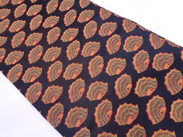 龍村美術織物製 彩貝文織出し開き名古屋帯(額縁仕立て)【リサイクル】【中古】