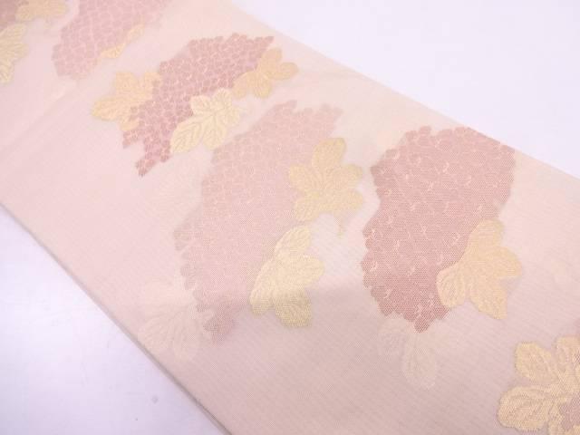 紗 紫陽花模様織出し袋帯【リサイクル】【中古】