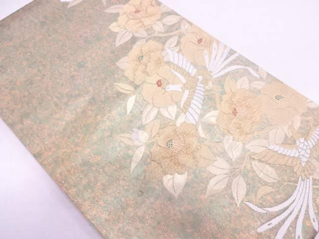 未使用品 青銅箔椿に鳥模様刺繍袋帯【リサイクル】【中古】