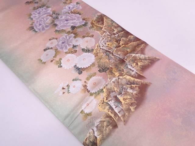 作家物 金彩牡丹に菊模様ぼかし袋帯【リサイクル】【中古】