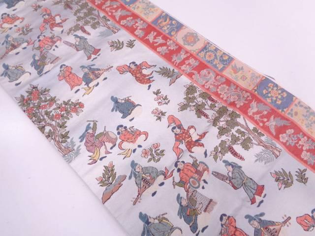 古楽器に時代人物模様織出し袋帯【リサイクル】【中古】