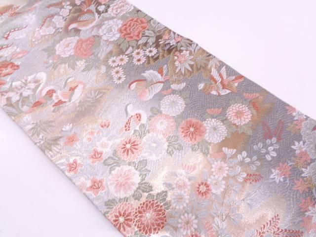 未使用品 鴛鴦に四季の花模様織出しぼかし袋帯(未仕立て)【リサイクル】【中古】