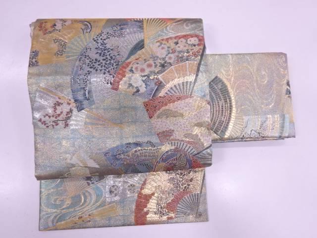 24金プラチナ三重箔扇面に草花・鳳凰模様織出し作り帯【リサイクル】【中古】