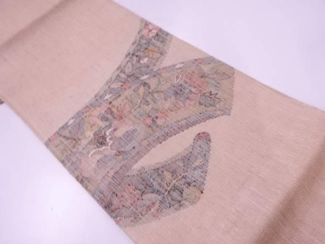 絵巻に草花模様織出し袋帯【リサイクル】【中古】
