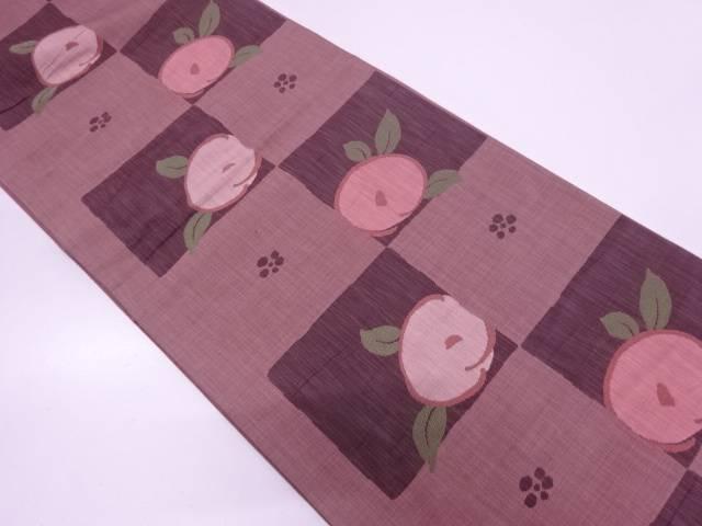 楽山 市松に抽象椿模様織出し袋帯【リサイクル】【中古】