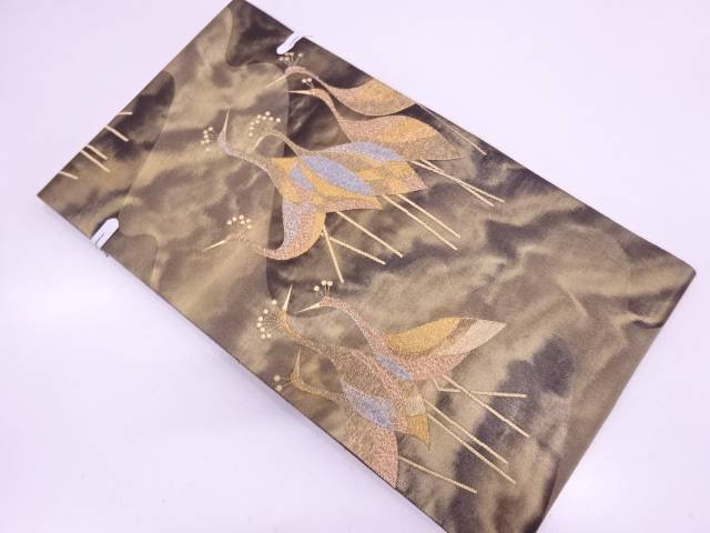 未使用品 青銅箔流水に鳥模様織出し袋帯【リサイクル】【中古】
